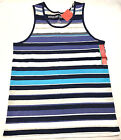 Mossimo Men's Tank Top Striped Medium Large Muscle Shirt Navy Voyage Blue NWT