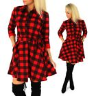 Women's Flannel Plaid Tunic Casual Dress 3/4 Sleeve Flared Long Hem Sexy