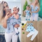 Mother and Daughter Floral Blouse and Ripped Trousers Outfit