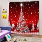 2Pcs Christmas Polyester Window Curtains Bedroom Living Room Bathroom Drapes