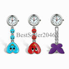 Heart Shape Smile Face Butterfly Nurse Fob Clip On Brooch Hanging Pocket Watch