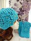Handmade Crochet Ladies Hat Gloves set - Ideal Gift various colours