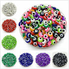 50pcs 8mm Oval Shape Spacer Beads Resin Loose Evil Eye Beads For Jewelry Making