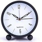 OKSANO 4.5 inch Round Silent Sweep Alarm Table Clock Non Ticking Gentle Wake,