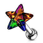 "1 PC 16g 1/4"" CZ 5MM Crystal Star Tragus Cartilage Barbell  Stud Earring #D image"