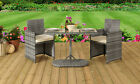3pc Rattan Bistro Dining Furniture Set Outdoor Garden Patio - 2 Chairs & Table