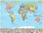 World Map 2015 LARGE Poster 50x40  POLYPROLENE PAPER -TEAR AND WRINKLE RESISTANT