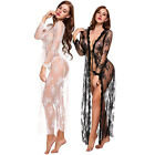 Sexy Lingerie For Women Long Lace Dress Sheer Gown See Through Kimono Robe US