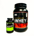 Optimum Gold Standard 100% WHEY PROTEIN 2 lbs + GLUTAMINE 150g COMBO STACK SALE