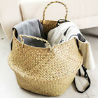 Large Garden Laundry Storage Rattan Basket Seagrasss Straw Wicker Folding Basket