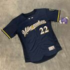 Men's Milwaukee Brewers #22 Christian Yelich Navy Jersey SAME DAY SHIPPING
