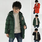 Kids Children Hooded Coat Parka Quilted Padded Jacket Winter Warm Outerwear Soft