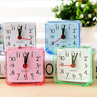 Square Small Cute Bed Compact Travel Quartz Alarm Clock Mini Portable Desk Decor