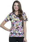 Hello Kitty Cherokee Scrubs Tooniforms Sanrio V Neck Knit Panel Top TF648 HKAG