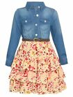 Bonnie Jean Big Girls Denim Floral Printed Ruffle Tiered Belted Dress 7-16