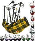 Full Size Bagpipe Great Highland Various Tartans with Chanter, Tutor Book & Bag