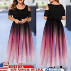 Plus Size Womens Evening Party Swing Long Dress Cold Shoulder Gradient Ball Gown $21.35 USD on eBay