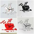 3D DIY Coffee Time Clock Acrylic Wall Clock Modern For Kitchen Home Decoration