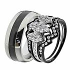 His & Hers Stainless Steel Round CZ Wedding Ring Sets Tungsten Men Band RZ