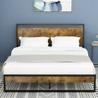 Kyпить QUEEN FULL Size Platform Metal Bed Frame With Wood Headboard & Footboard Brown  на еВаy.соm