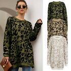 Women Soft Sweater Loose Long Leopard Tops Crew Neck Knitted Oversized Pullover