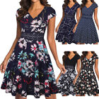 Women's Elegant V-neck Floral Lace Embroidery Swing Casual Party Cocktail Dress