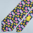LEONARD TIE Floral Car & Building on Dark Blue Classic Silk Necktie