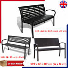 Steel / Rattan Outdoor Garden Balcony Bench 2 Seater Outdoor Patio Seat Black