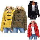 Womens Brave Soul Duffle Style Toggles Faux Fur Hood Trim Padded Puffer Jackets