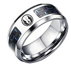 Star Wars Jedi Order Logo Blue Carbon Fiber Stainless Steel Finger Ring $14.99 USD on eBay