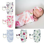 Baby Blanket and Headband Set Flower Print Swaddle Wrap Blankets for Kids