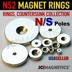Rings Countersunk N52 Super Strong Rare Earth Neodymium Magnet North South Poles