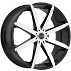 4-Akuza 843 22x8.5 5x115/5x120 +35mm Black/Machined Wheels Rims 22