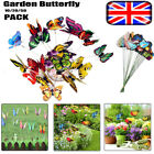 10/20/50pcs Colorful Garden Butterflies Stakes Patio Home Ornaments On Sticks Uk