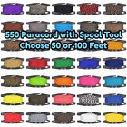 550 7-Strand Paracord With Black Spool Tool - 50 or 100 Feet