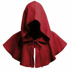Halloween Cosplay Death Cape Short Hood Cloak Wizard Witch Medieval Cape UK