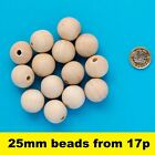 Natural Untreated Plain Round Wooden Wood Bead With Hole Ball Jewellery 25mm
