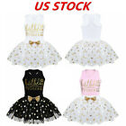 US Baby Birthday Kids Girl Clothes Outfit Tutu Skirt Dress Top T-shirt Party Set