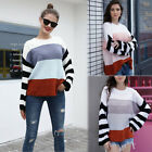 Women Round Neck Long Sleeve Color Block Striped Ribbed Knit Pullover Sweaters
