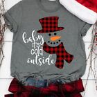 Women Christmas Shirts cute Snowman Pattern Printed T-shirt Casual Graphic Tees