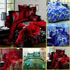 4x Print 3D Duvet Cover Bedding Set King Size Quilt Cover Bed Sheet Pillowcases image