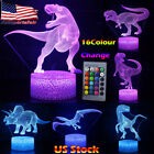 3D Illusion LED Night Light 16 Colour Touch Table Desk Mood Lamp Gift Dinosaur