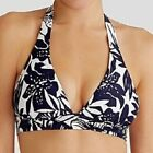 FIGLEAVES Tobago HALTERNECK BIKINI TOP Blue White Floral UK 8 NEW