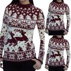 Women Christmas Ugly Sweater Winter Knit Pullover Jumper Long Sleeve Blouse Tops