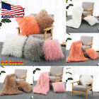 45x45cm Fluffy Square Throw Pillow Cases Sofa Plush Bed Cushion Cover Home Decor image