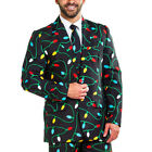 Men's Snowflake Elk Christmas Costumes Blazer Suit Xmas Party Suit Coat Jacket