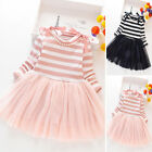Kids Girls Stripe Tulle Skirt Dress Long Sleeve Party Princess Casual Dresses