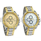 Mens Luxury Gold Silver Tone Stainless Steel Sports Quartz BUSINESS Wrist Watch image