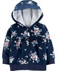 Carters Infant Girls' Navy Floral Zip-Up Hoodie NWT hooded jacket ruffle details