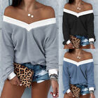 Womens Off Shoulder Knitted Jumper Loose V Neck Sweater Casual Pullover Tops